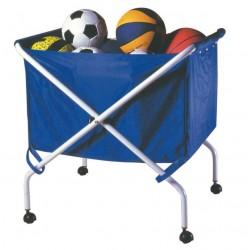 Carrello porta palloni in acciaio verniciato pieghevole con sacca in nylon