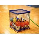 Carrello contenitore porta palloni e piccoli attrezzi in rete con ruote cm 73x73x73