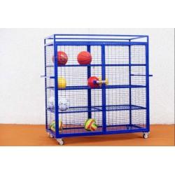 Armadio porta palloni e attrezzi in rete spostabile su ruote