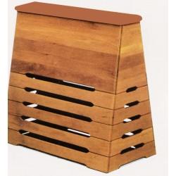 Plinto a cassoni in legno con piano in cuoio sintetico
