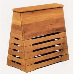 Plinto a cassoni in legno con piano in cuoio naturale