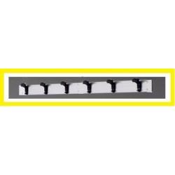 Appendiabiti a parete in alluminio mt. 2 con 6 grucce in pvc