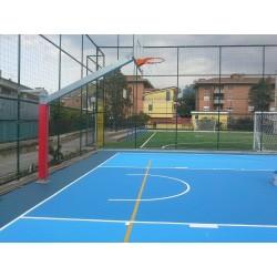 Imp. basket SINGOLO monotubo sbalzo cm 225 con piastra
