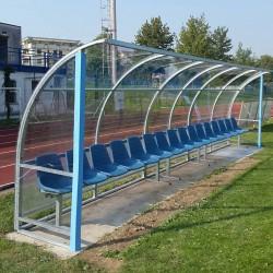 "Panchina calcio ""Standard"" in acciaio copertura trasparente"