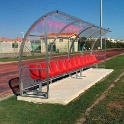 Panchina Calcio mt 4 Standard alluminio + trasparente