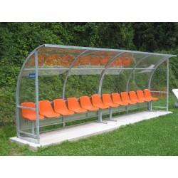 Panchina Calcio mt. 5 Standard acciaio + trasparente