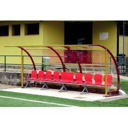 Panchina calcio in acciaio copertura trasparente Large