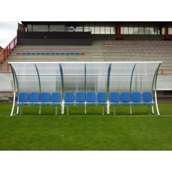 """Panchina calcio """"Onda"""" in alluminio e copertura trasparente"""