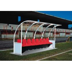 Panchina Calcio Alluminio a modulo copertura trasparente